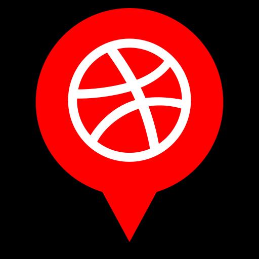 dribbble, logo, pin icon