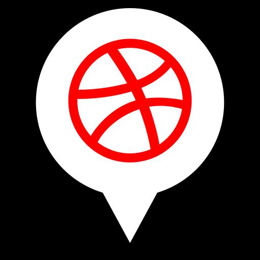 dribbble, pin, social icon