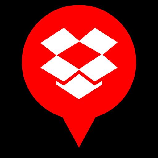 dropbox, logo, pin icon
