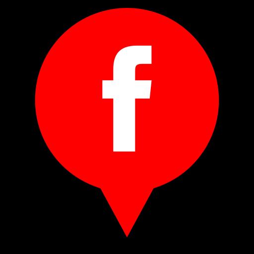 facebook, logo, pin icon
