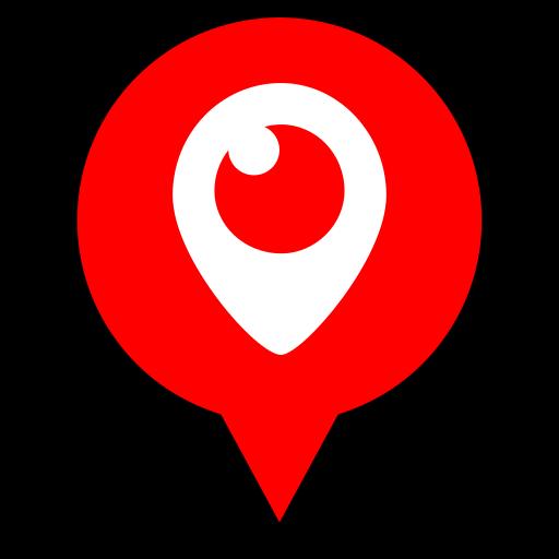logo, periscope, pin icon