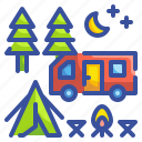 activity, camp, camping, forest, leisure, travel, woods icon