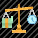 balance, freelance, money, scale, time icon