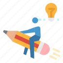 idea, innovation, launch, rocket, startup icon