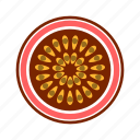 cross section, fresh, fruit, high saturation, passion, tropical icon
