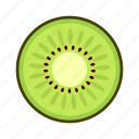 cross section, fresh, fruit, high saturation, kiwi