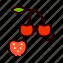 cherries, cherry, food, fruit, healthy icon