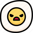 angry, emoji, emotion, expression, face, feeling, fried egg icon