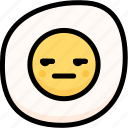 annoying, emoji, emotion, expression, face, feeling, fried egg icon