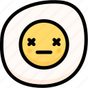 dead, emoji, emotion, expression, face, feeling, fried egg icon