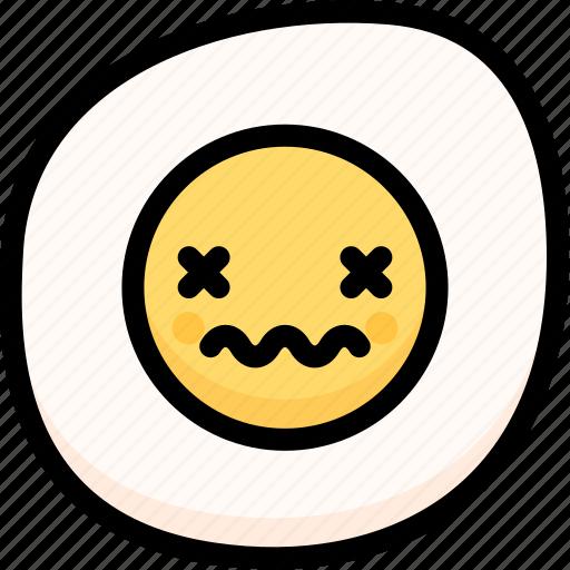 dead, emoji, emotion, expression, face, feeling, fried egg icon