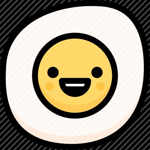 emoji, emotion, expression, face, feeling, fried egg, happy icon