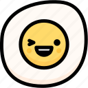 emoji, emotion, expression, face, feeling, fried egg, happy icon