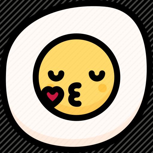 emoji, emotion, expression, face, feeling, fried egg, kiss icon