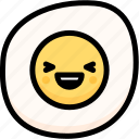 emoji, emotion, expression, face, feeling, fried egg, laughing icon