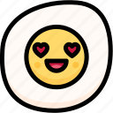 emoji, emotion, expression, face, feeling, fried egg, love