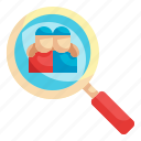 find, friend, user, magnifying, glass