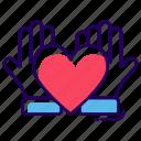 friendship care, friendship love, heart care, love care, love protection icon