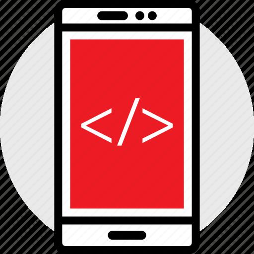 code, coding, developer, development, phone, web icon