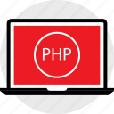 coding, developer, development, laptop, php, web icon