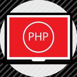 coding, developer, development, laptop, php, web icon