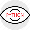coding, developer, development, eye, python, web icon