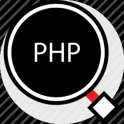 coding, developer, development, find, php, web icon