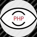 coding, developer, development, eye, php, web icon