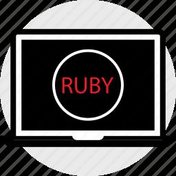 coding, developer, development, laptop, ruby, web icon