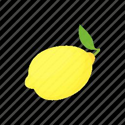 cartoon, citrus, fruit, leaf, lemon, white, yellow icon