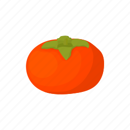 cartoon, fruit, juicy, leaf, natural, persimmon, ripe icon