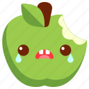 cute, green apple, apple, bite, character, avatar, cartoon