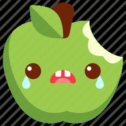apple, avatar, bite, cartoon, character, cute, green apple icon