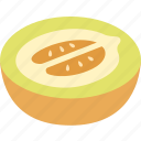 cantaloupe, honey, honeydew, honeymelon, melon, muskmelon, rockmelon icon