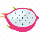 dragon, dragonfruit, exotic, fruit, fruits, tropical icon