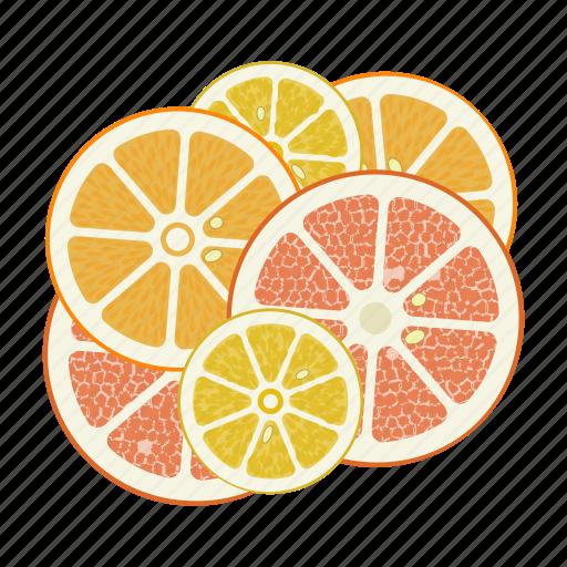 circle, citrus, fruit mix, fruits, grapefruit, lemon, orange icon