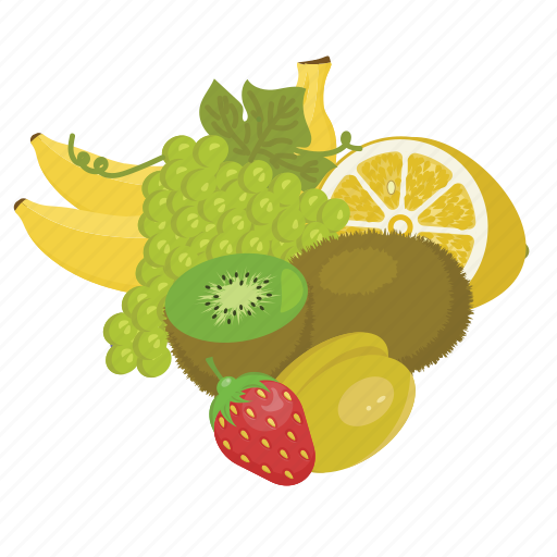banana, fruit mix, fruits, gapes, kiwi, raw food, vegetarian icon