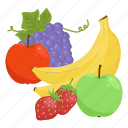 apple, banana, fruit, fruit combination, fruit mix, fruits, grapes icon