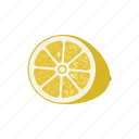 citrus, fruit mix, fruits, lemon, lemon circle, lemon half, yellow icon