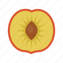 fruit, fruit mix, fruits, half, organic, peach, peach half icon