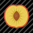 fruit, fruit mix, fruits, half, organic, peach, peach half icon
