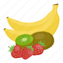 banana, fruit mix, fruits, kiwi, strawberry, vitamins, yellow icon