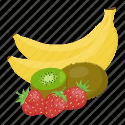 banana, fruit mix, fruits, kiwi, strawberry, vitamins, yellow icon