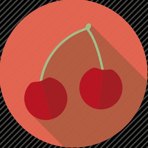 cherries, food, fresh, fruit, pair icon