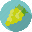 fresh, fruit, grapes, green, white, wine icon