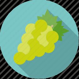 fresh, fruit, grapes, green, white, wine icon