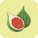 figs, food, fruit, green, healthy, slice, tasty icon
