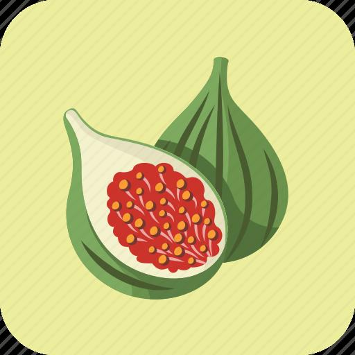 figs, food, fruit, green, healthy, slice, tasty icon