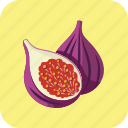 fig, food, half, nutrition, piece, vegetarian, violet icon