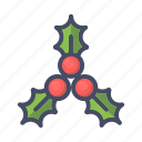 berries, cherries, christmas, fruit, leaves icon